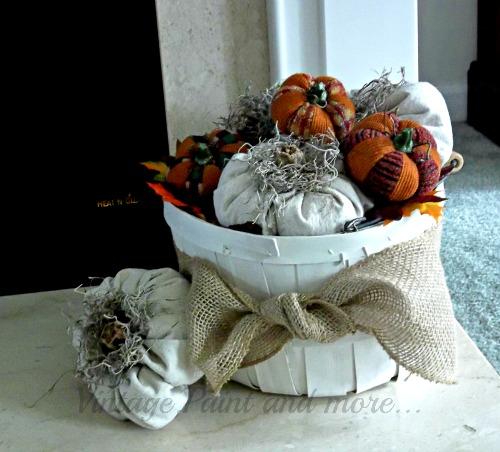 Vintage, Paint and more... drop cloth fabric pumpkins in a vintage bushel basket
