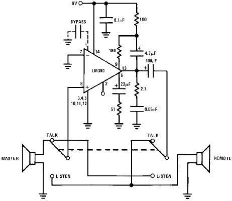 schematic wiring diagram lm390 simple 2 way radio intercom circuit lm390 simple 2 way radio intercom circuit