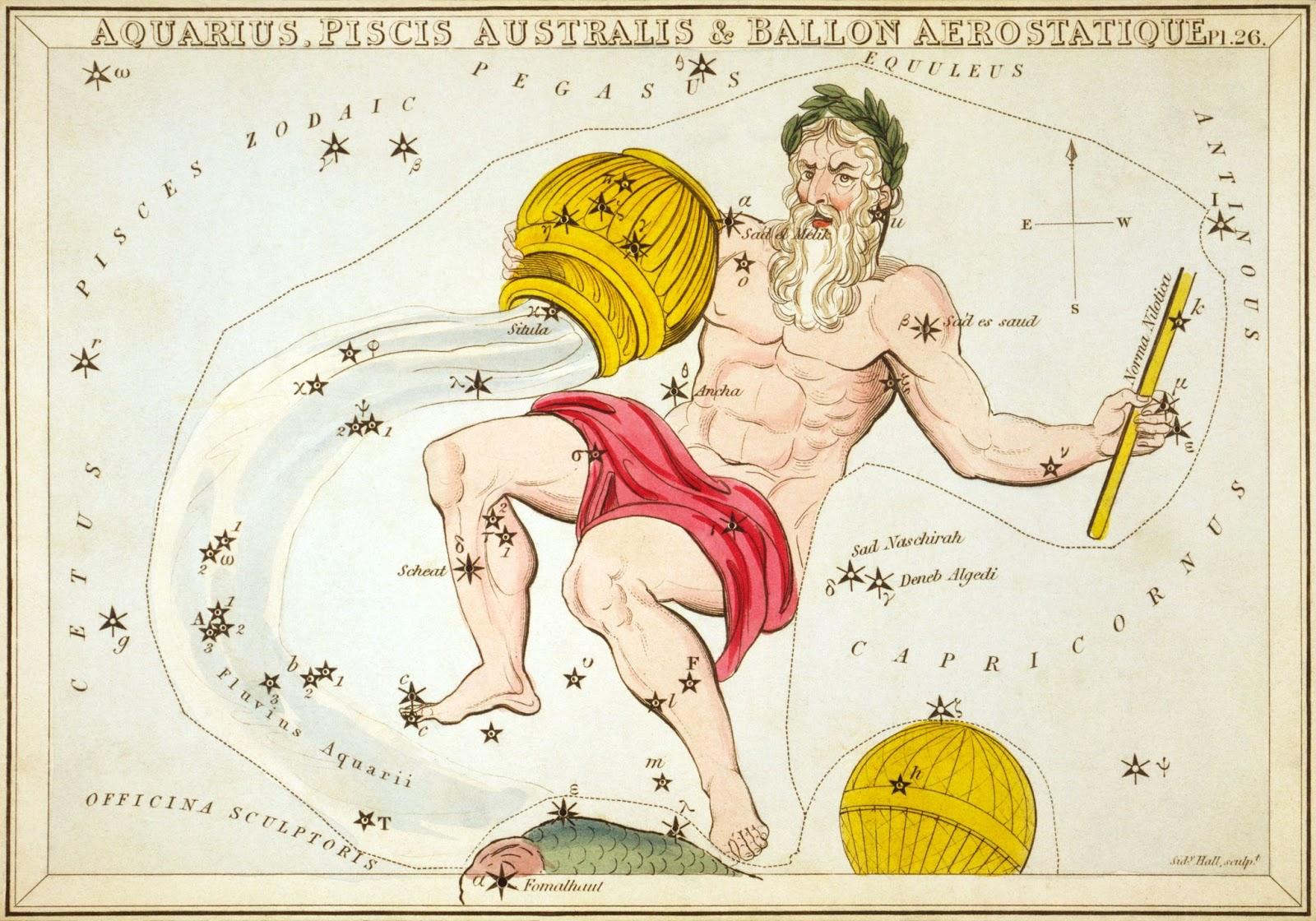 Chòm sao Aquarius bởi họa sĩ  Sidney Hall vẽ vào năm 1825. Nguồn hình ảnh : Thư viện Quốc hội Hoa Kỳ.