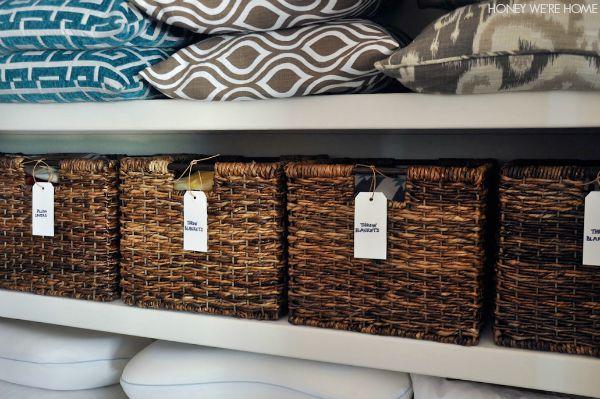 Organized Linen Closet With Woven Bins From Target And Handwritten Labels |  Honey Weu0027re