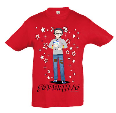 "Camiseta manga corta para niños ""SuperHijo"" color rojo"