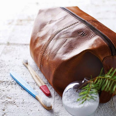 Ma Bicyclette: Buy Handmade | Christmas Gift Guide For Him - Personalised Leather Wash Bag
