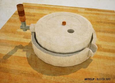 rice millstone, gilingang bato, 3d