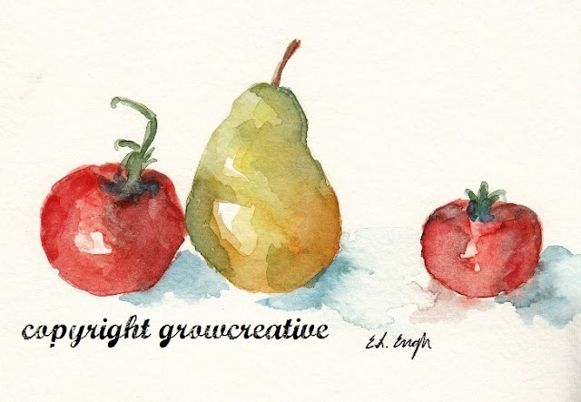 Tomatoes and Pears Watercolor Painting