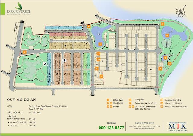 sơ đồ mặt bằng dự án nhà phố biệt thự Park Riverside Quận 9