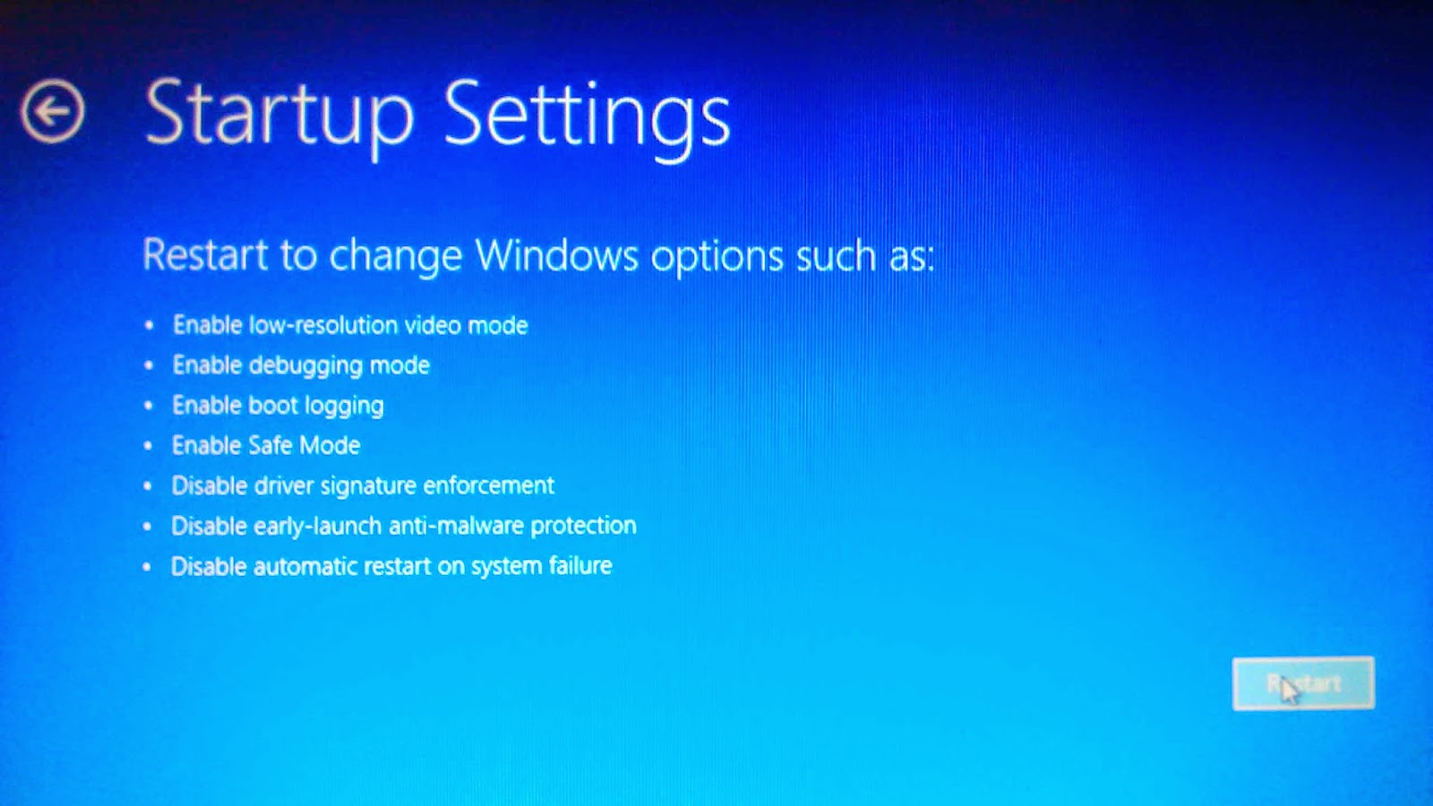 Startup settings to restart with disable drivers signature enforcement