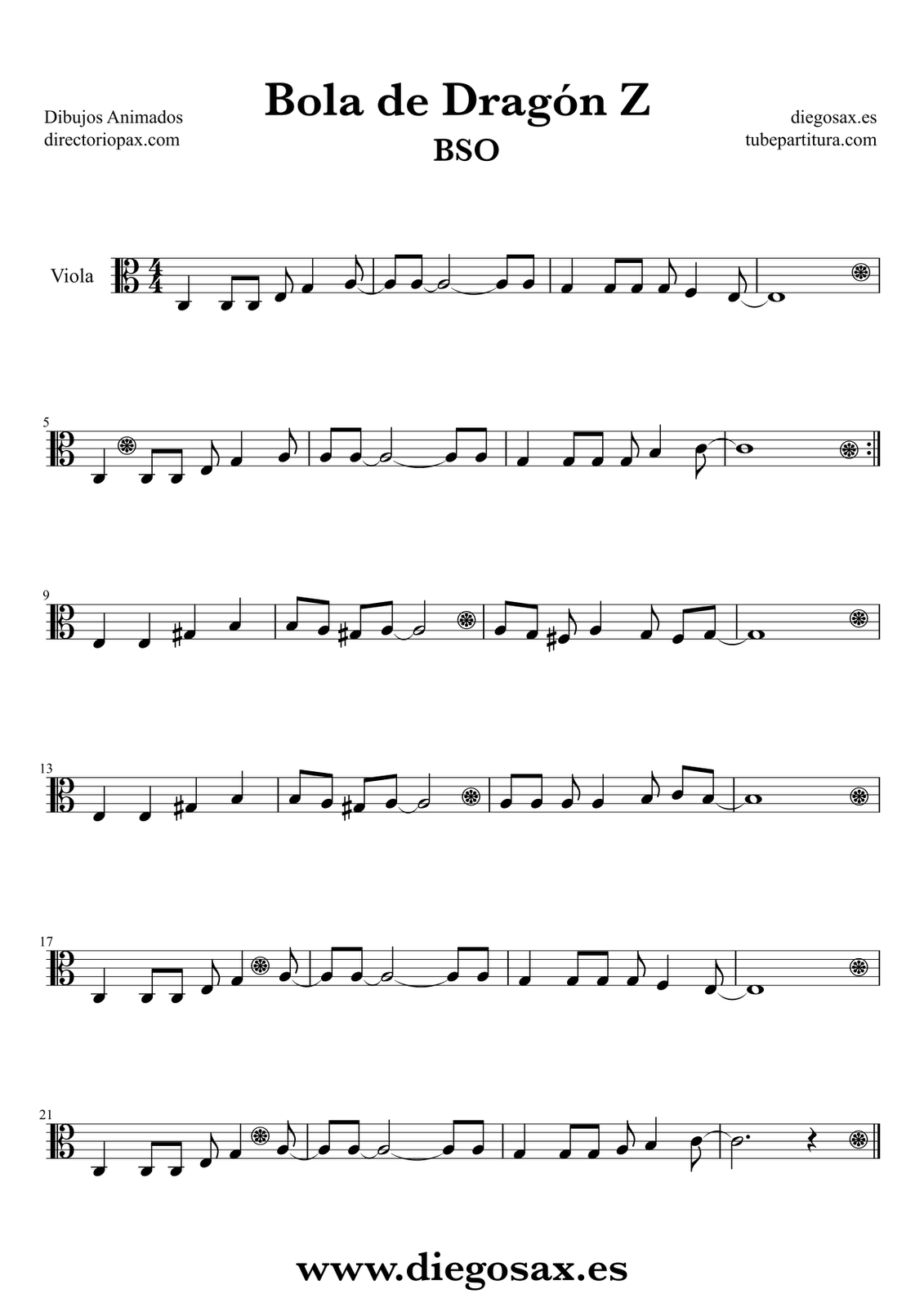 Viola dibujos animados bso sheet music viola music score dragon ball z