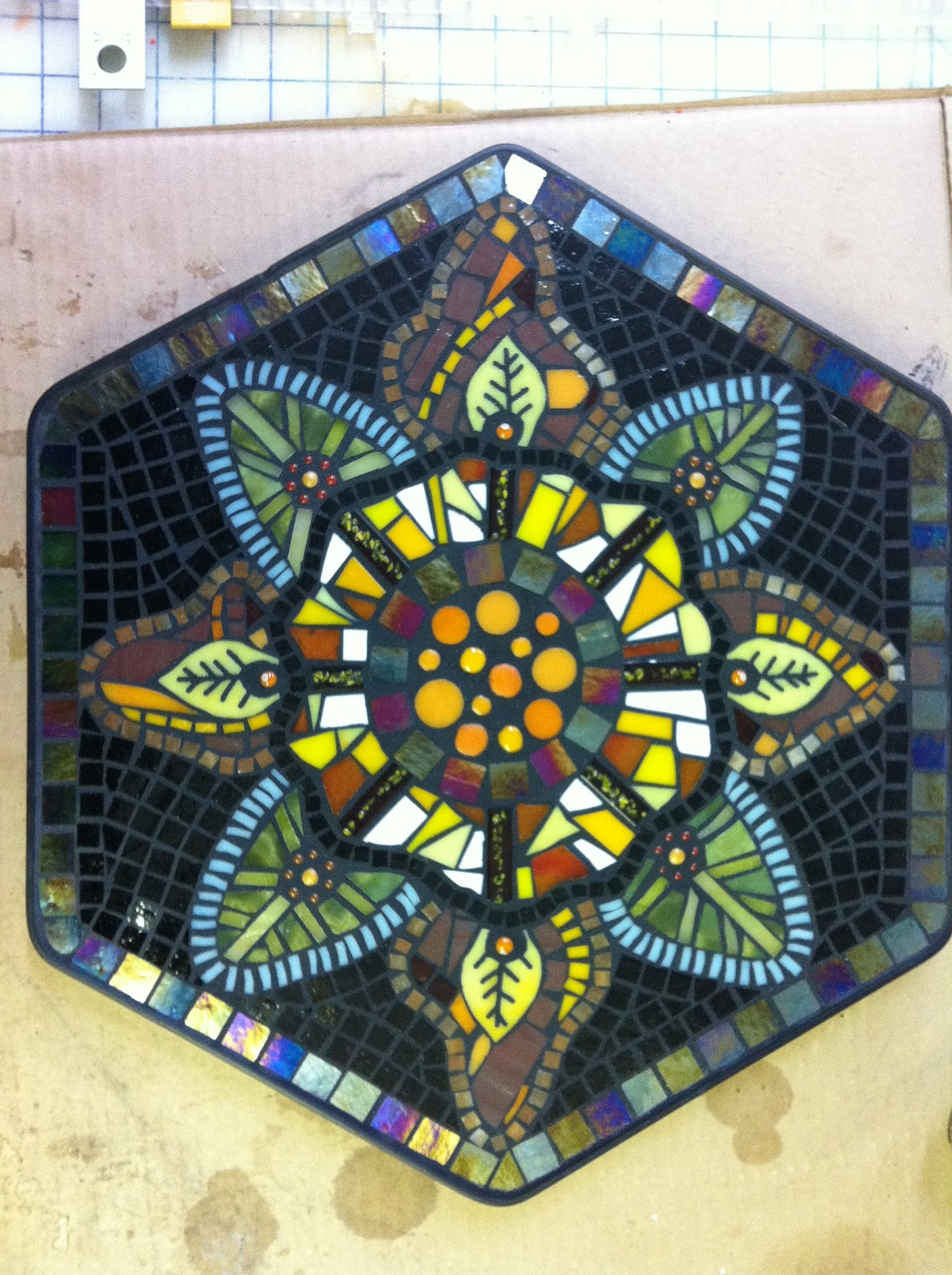 Mosaic table top created using No Days Mosaic Adhesive Film and fused ...