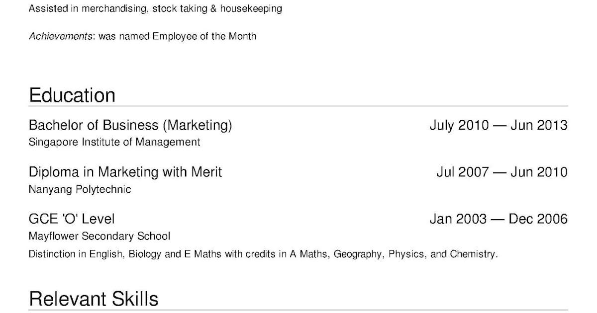 free resume template singapore format  free resume