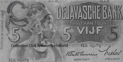 A bank note from the Javasche Bank, the circulation bank of Dutch East- India; Batavia-Jakarta 1939