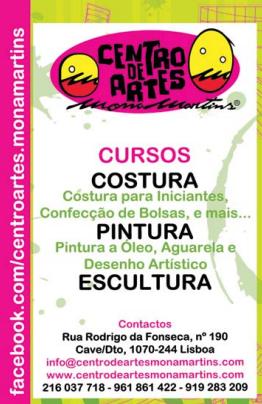 Cursos de formação nas áreas de: costura, pintura, desenho e escultura – Lisboa