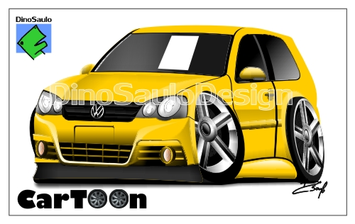 dino saulo ilustrações automotivas caricatura de carros golf