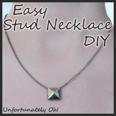 easy stud chain necklace DIY