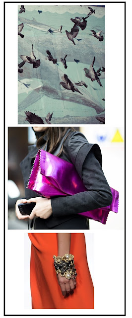 Composición fotográfica. Palomas grises volando. Detalle de una mujer. Detalle de la falda y pulsera de una mujer.