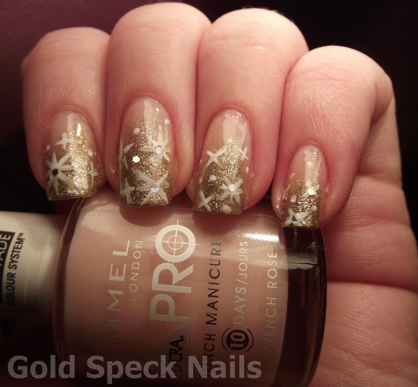 Gold Speck Nails: Gold Glitter Sponged Tips & Stars