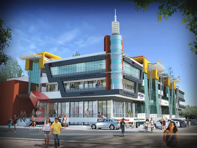 3d architectural exterior view of mall,3d architectural animation