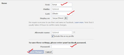changing facebook name