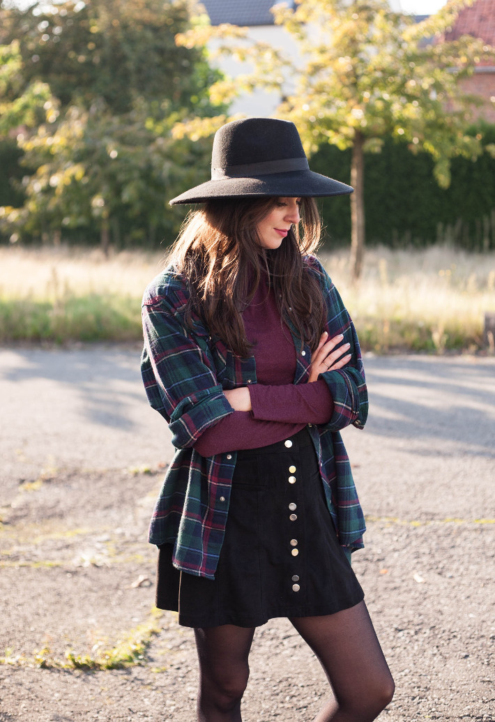 outfit: wide brim hat, plaid shirt layered over turtleneck