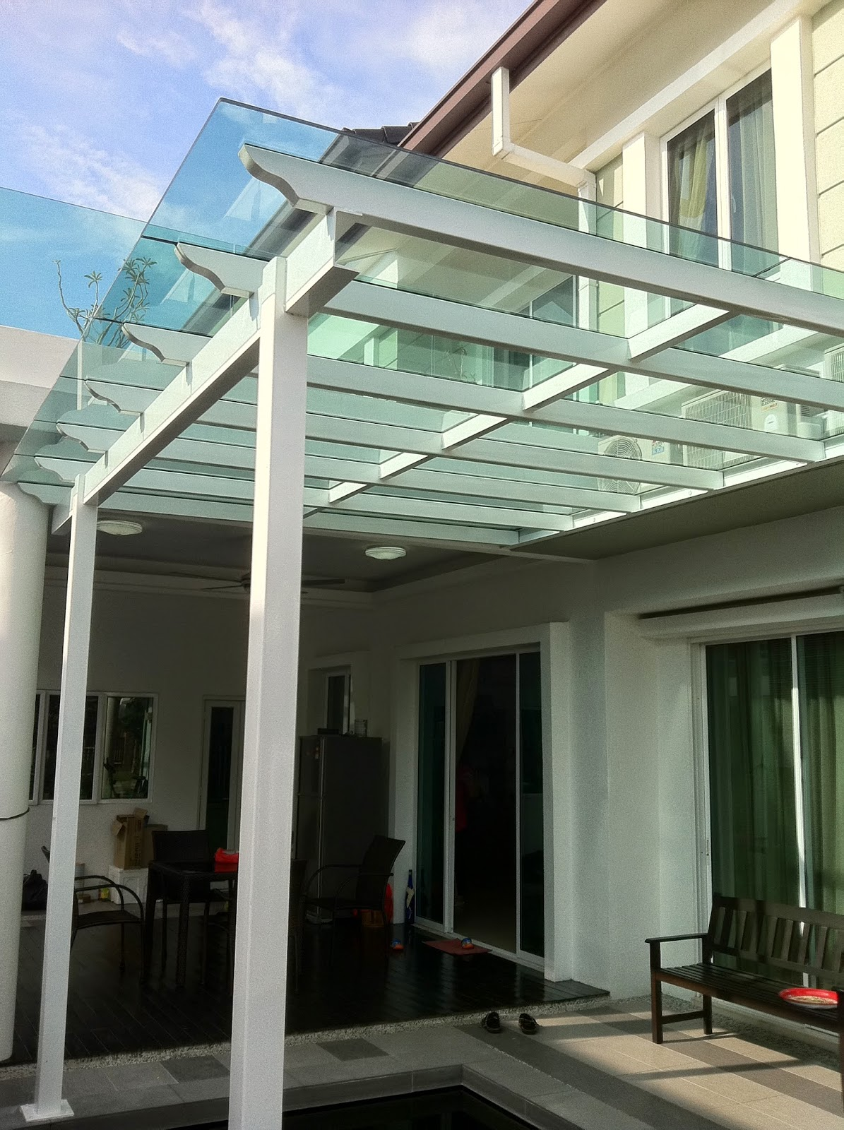 Proneex awning gates sdn bhd photos metal pergola for Glass awnings for home
