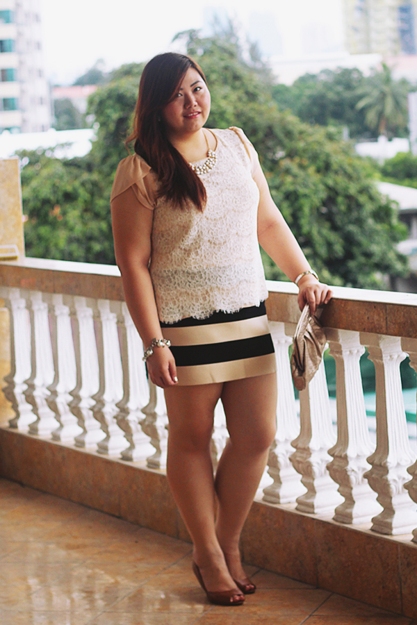 Forever 21 Stripe Skirt, Payless Tan Peeptoe Heels, Style and Co Rose Gold Bag, Asian Plus Size Blogger