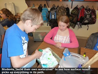 Students build their own watershedto see how surface runoff picks up everything in its path.