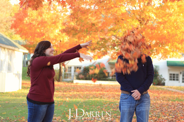 photo of a fun Fall engagement session reynolda gardens in winston salem