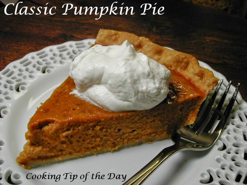 Cooking Tip of the Day: Classic Pumpkin Pie