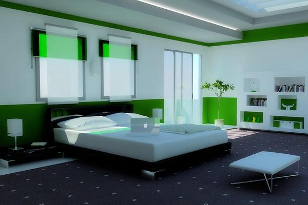 bedroom design decor: bright green bedroom design |bright green