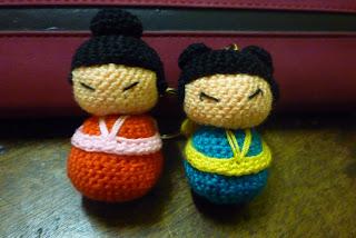 Kokeshi Cute Doll Crochet Keychain