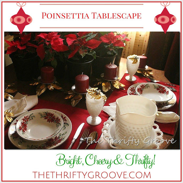 A bright and cheery poinsettia tablescape. Very thrifty but, so pretty! Easy DIY