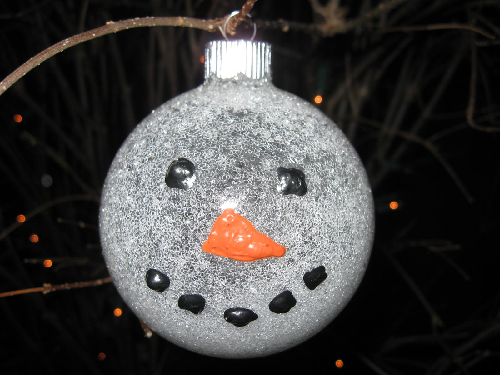 Craft klatch snowman glitter ball ornament craft tutorial for Clear ornament snowman craft