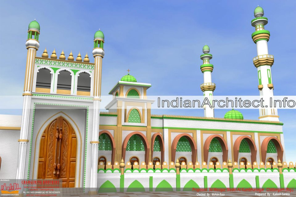 Mosque 3d modling project for kumbhanagr chittorgarh for Mosque exterior design