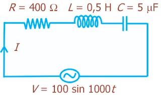 Sumber tegangan bolak-balik dengan V = (100 sin1.000t) volt, dihubungkan dengan rangkaian seri RLC