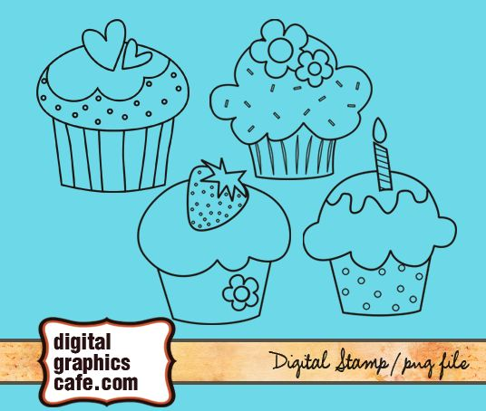 digital stamp cupcake