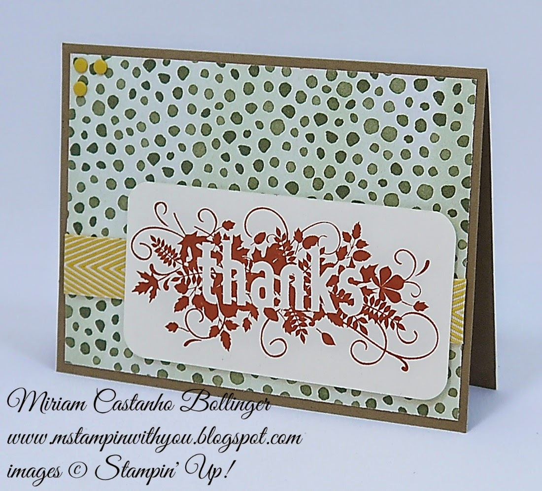 FMS 152, Miriam Castanho Bollinger, #mstampinwithyou, stampin up, demonstrator, fms, seasonally scattered, color me autumn, chevron ribbon, su