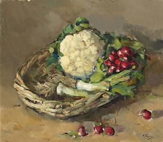 A. Fresco, Stilleven met bloemkool, radijs en prei