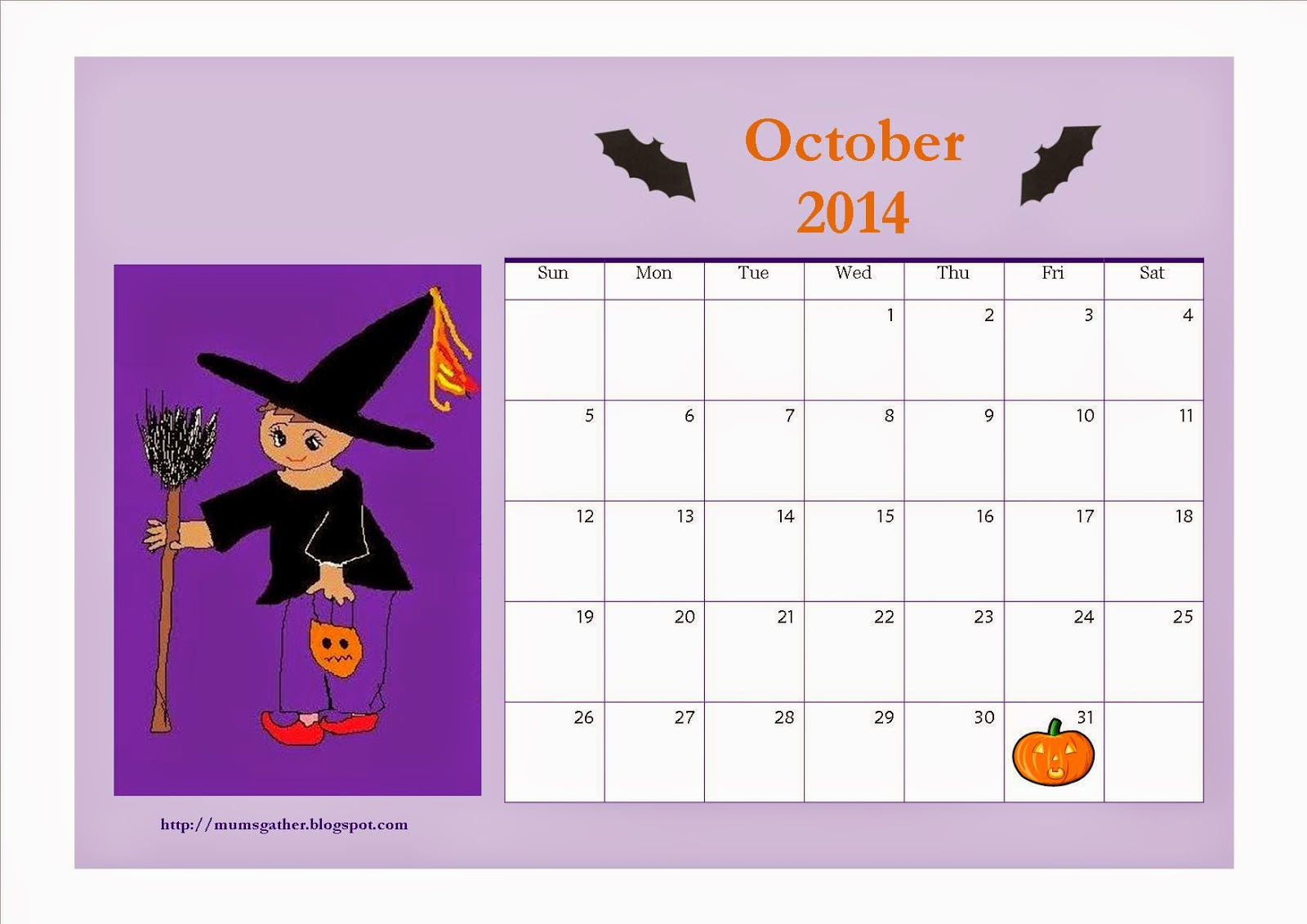Free October 2014 Printable Calendar For Kids