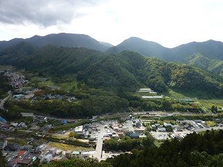 View of town and train station from Yamadera