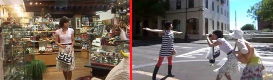 Wakamura in a gift shop. / Wakamura and Sekiyama film Misaki on a street.