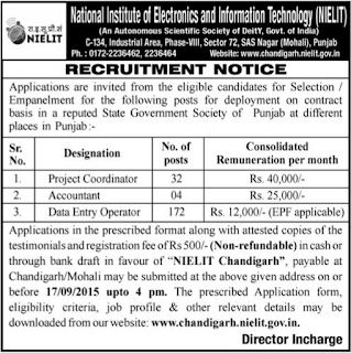 NIELIT Chandigarh Vacancy 2015