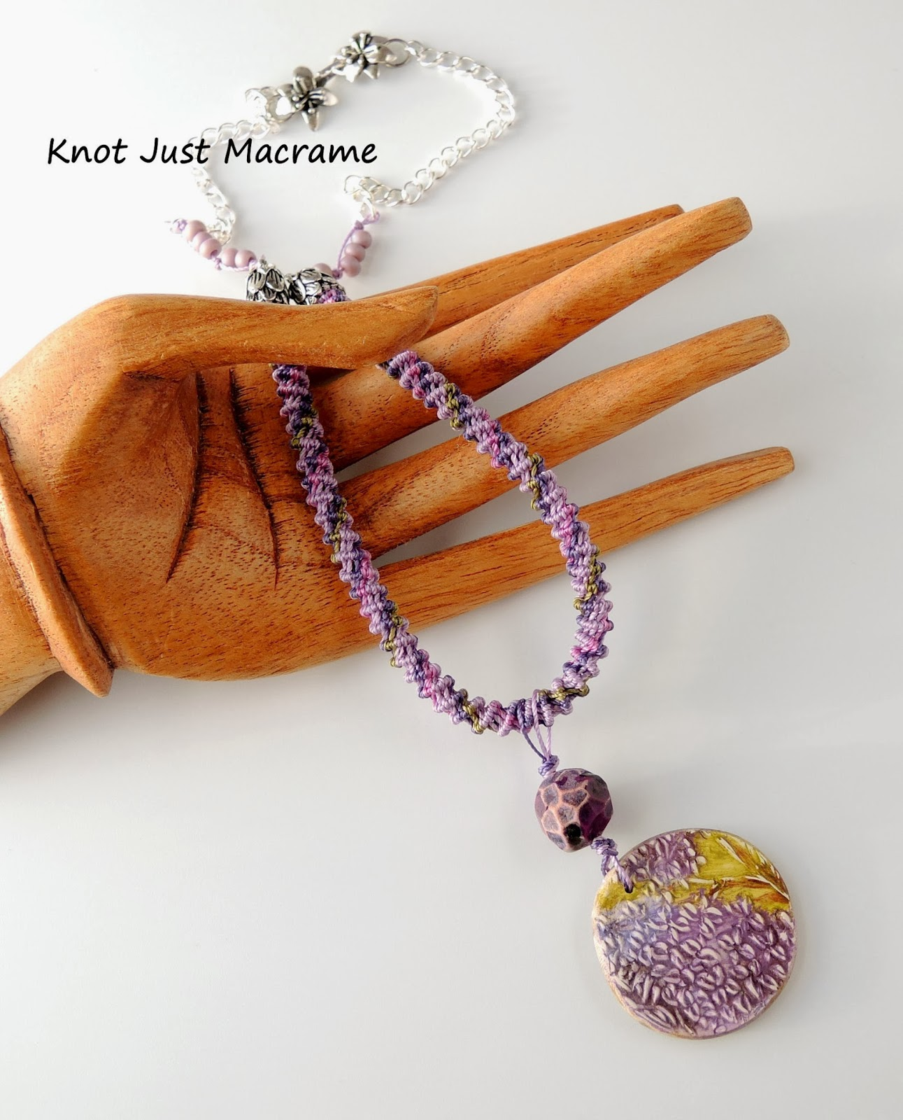 Knotted spiral micro macrame necklace by Sherri Stokey of Knot Just Macrame