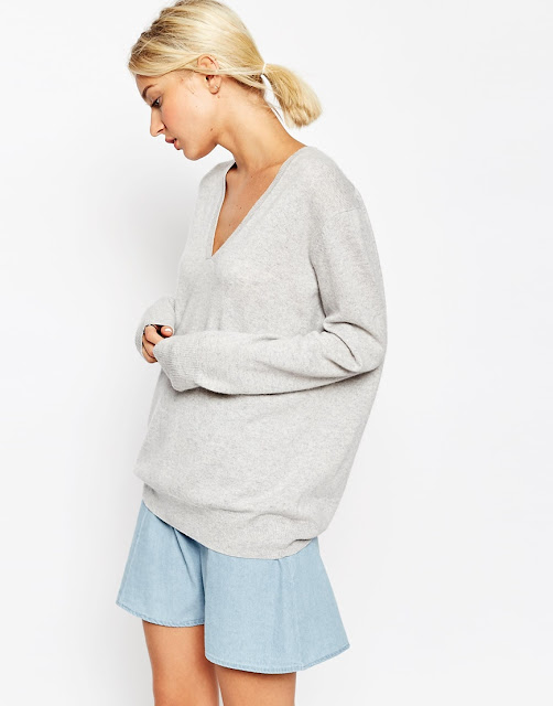 grey cashmere v neck jumper, light grey cashmere jumper,
