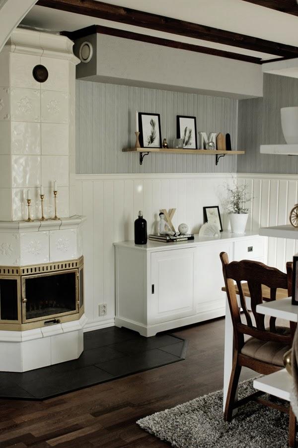 Före och efter renovering, matsal renovering, inredning, kakelugn, tavlor