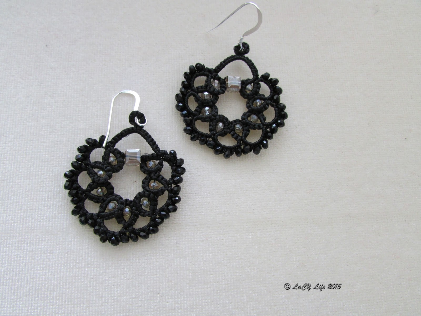 Lacy Life Shuttle Agate Black I Tatted The Earrings Using Polyester Thread You Can Find In My Etsy Shop Combined With Glass Beads And Crystals
