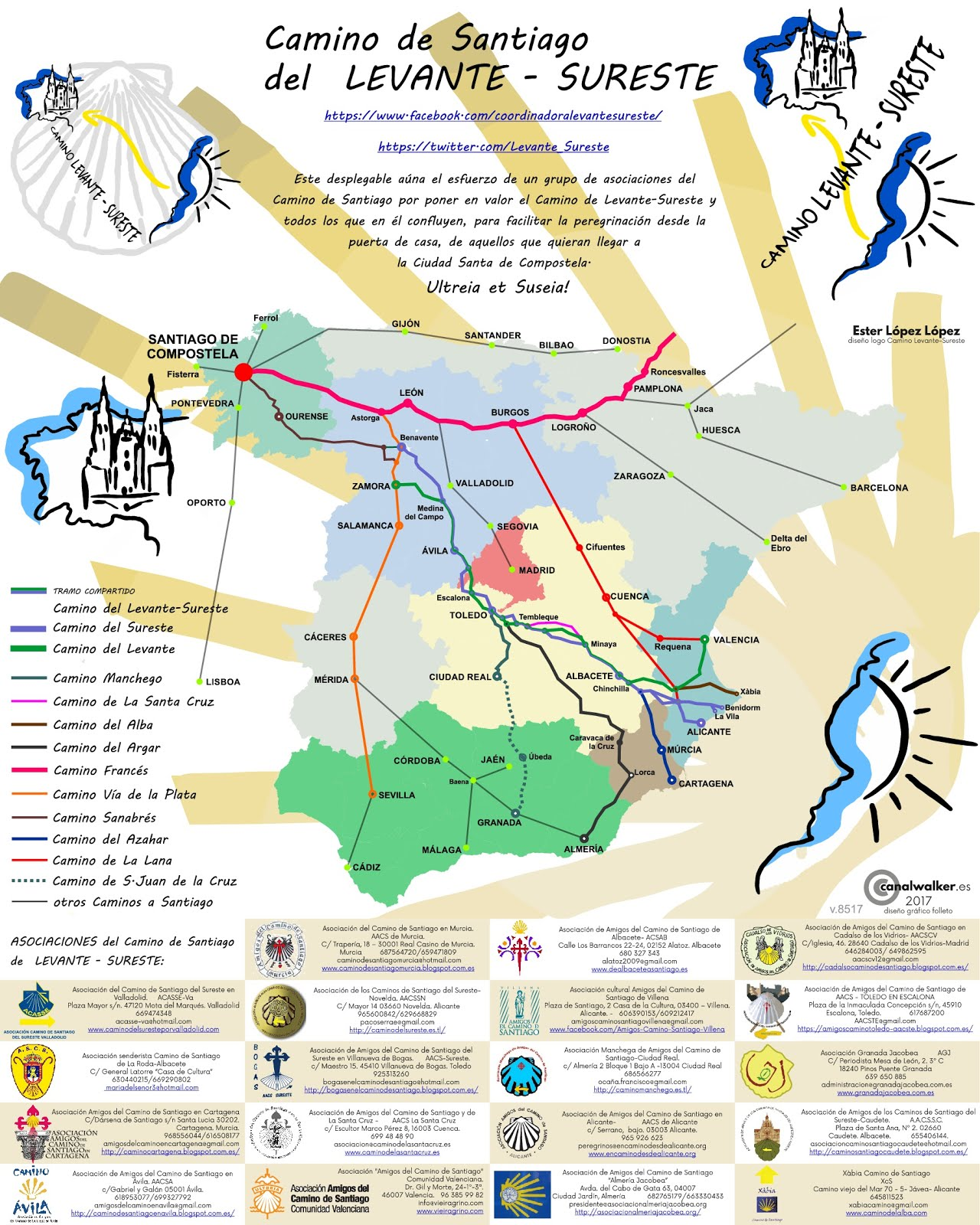 Mapa de Metro Camino de Santiago Levante.Sureste