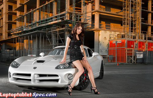 Dodge Viper cars and hot model Halie in red bikini