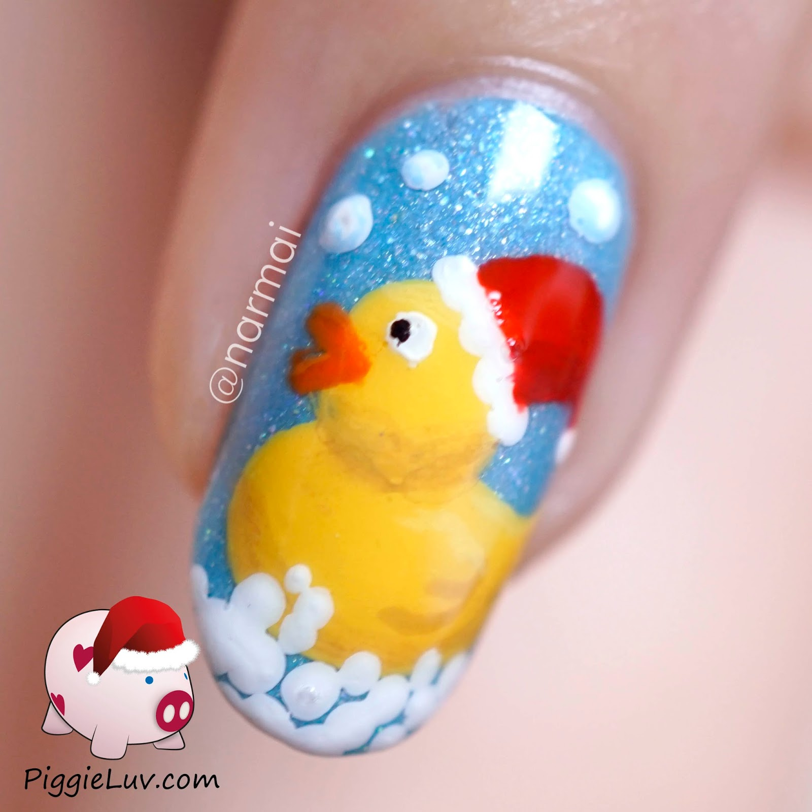 Piggieluv Rubber Ducky Nail Art With Santa Hat For Christmas