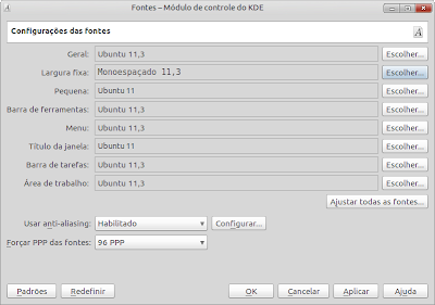Fontes - configuração (screenshot)