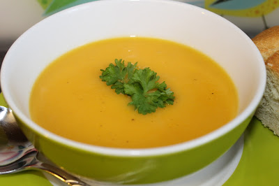 A bowl of Spiced Parsnip and Carrot Soup