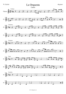 Partitura de Flauta de la Orquesta Canon para flauta. Puedes tocar la canción con todos los instrumentos a la vez Sheet Music